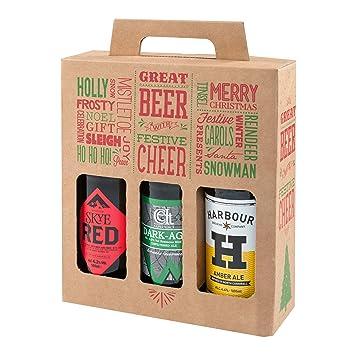 Pack de 20 cajas de regalo para botellas de cerveza de 500 ml con diseño navideño