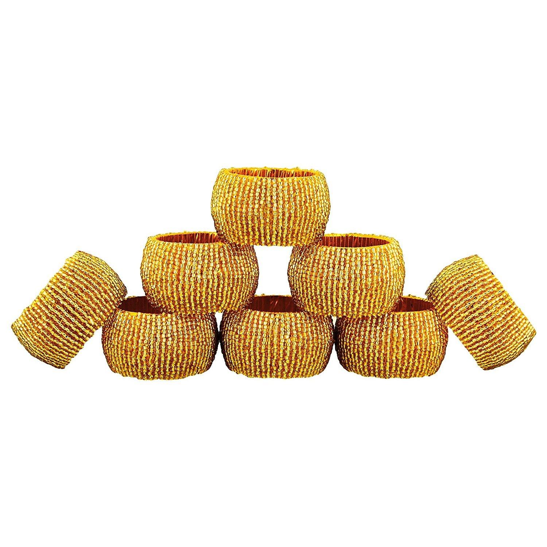 Handmade Indian Gold Beaded Napkin Rings - Set of 8 Rings…