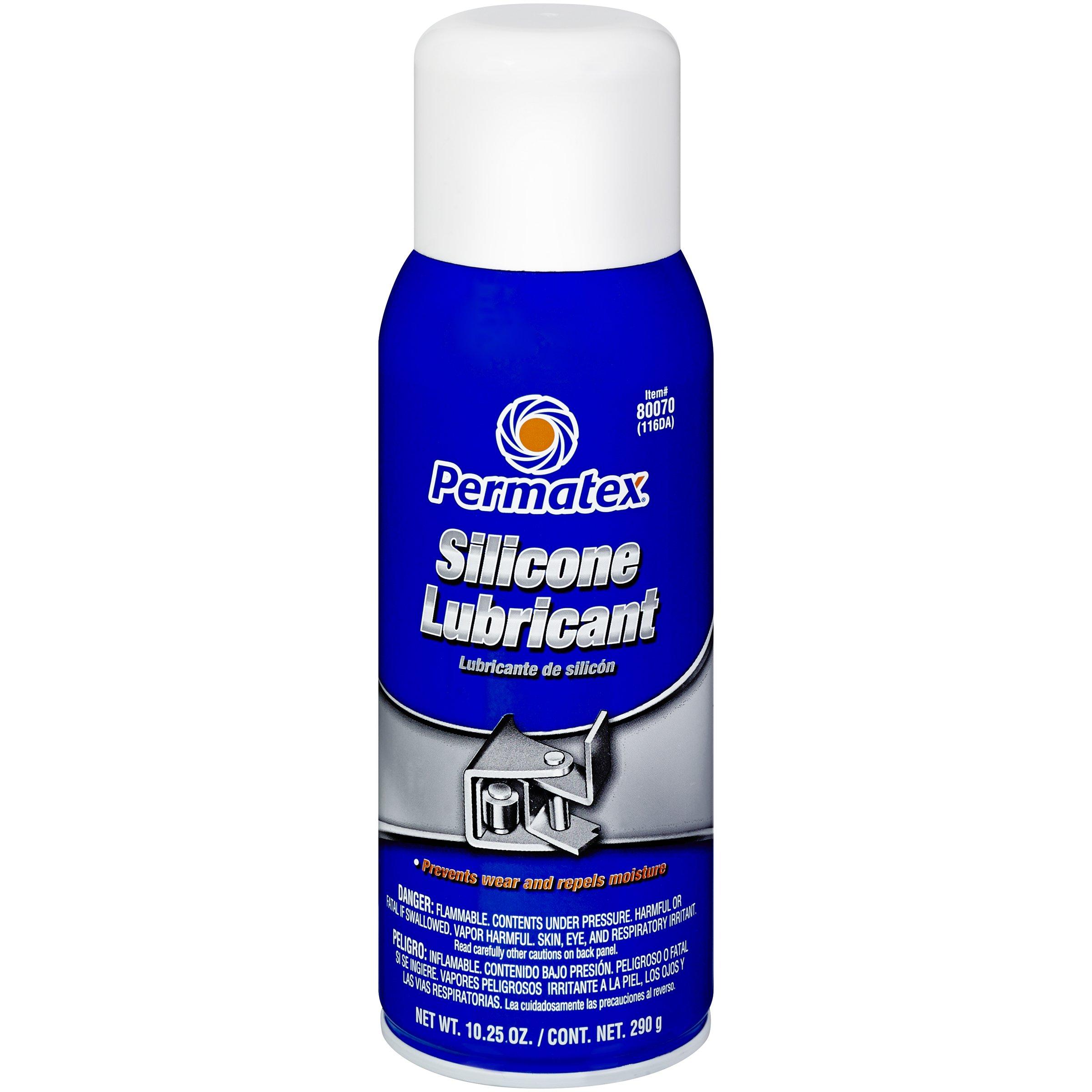 Permatex 80070-12PK Silicone Spray Lubricant, 10.25 oz. net Aerosol Can (Pack of 12) by Permatex