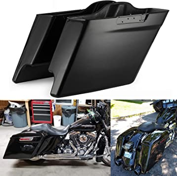 Us Stock Vivid Black 4 1//2 inch Stretched Saddlebags Medium Silver Pinstripe Stretched Side Covers Rear Fender Extension Fit for 2014-2019 Harley Touring Road Glide Special Street Glide