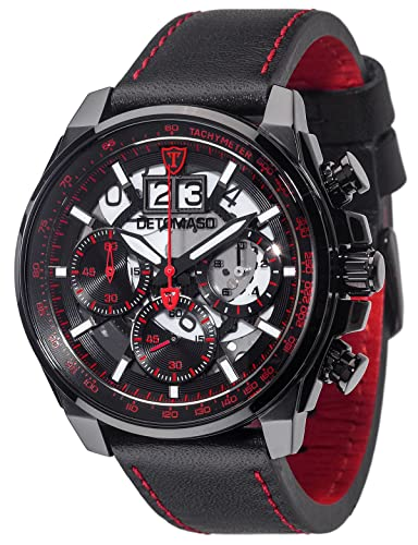 Detomaso Men s Skeleton Chronograph Watch with Leather Band and Date Display