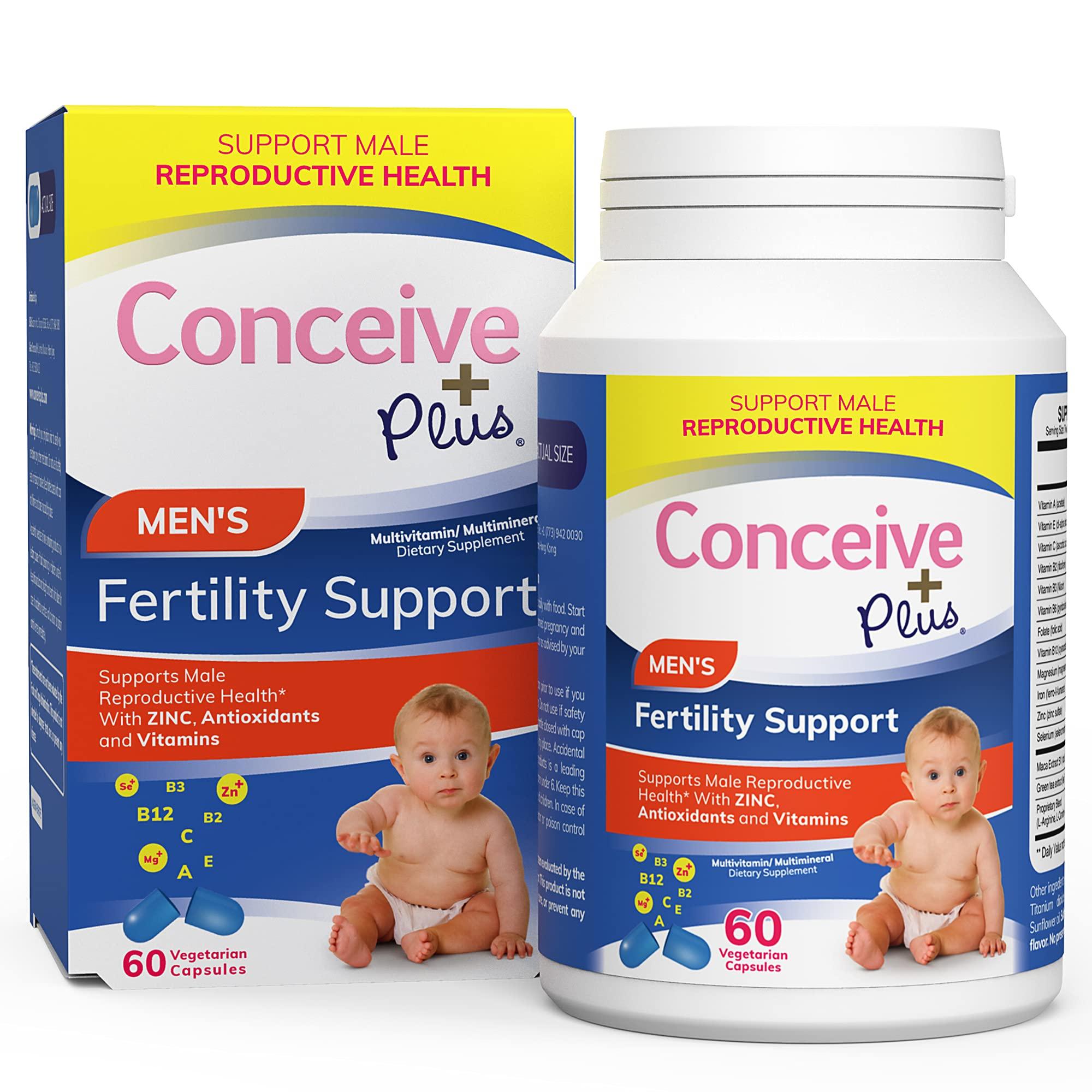 CONCEIVE PLUS Fertility Supplements for Men | 30-Day Supply | Zinc, Folate, Maca Root, Selenium | Semen Volumizer | Male Fertility Support Pills (60 Capsules)