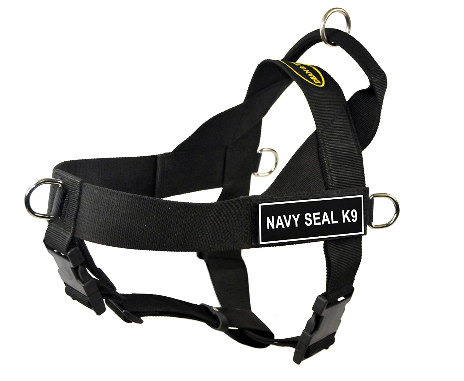 Dean & Tyler Universal No Pull 24-Inch to 27-Inch Dog Harness, Small, Navy Seal K9, Black
