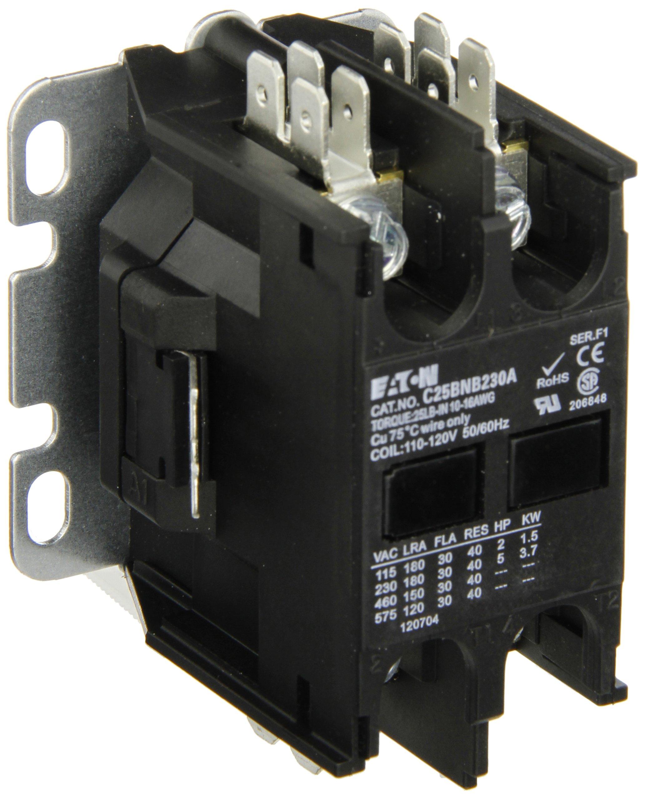 Eaton C25bnb230a Compact Definite Purpose Contactor 30a Inductive Current Relay Rating 2 Max Hp At 115v 5 230v 120vac Coil Voltage