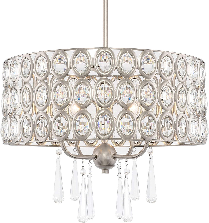 "Kira Home Amelia 18"" Modern Chic 4-Light Crystal Chandelier Pendant Light, Brushed Nickel Finish"