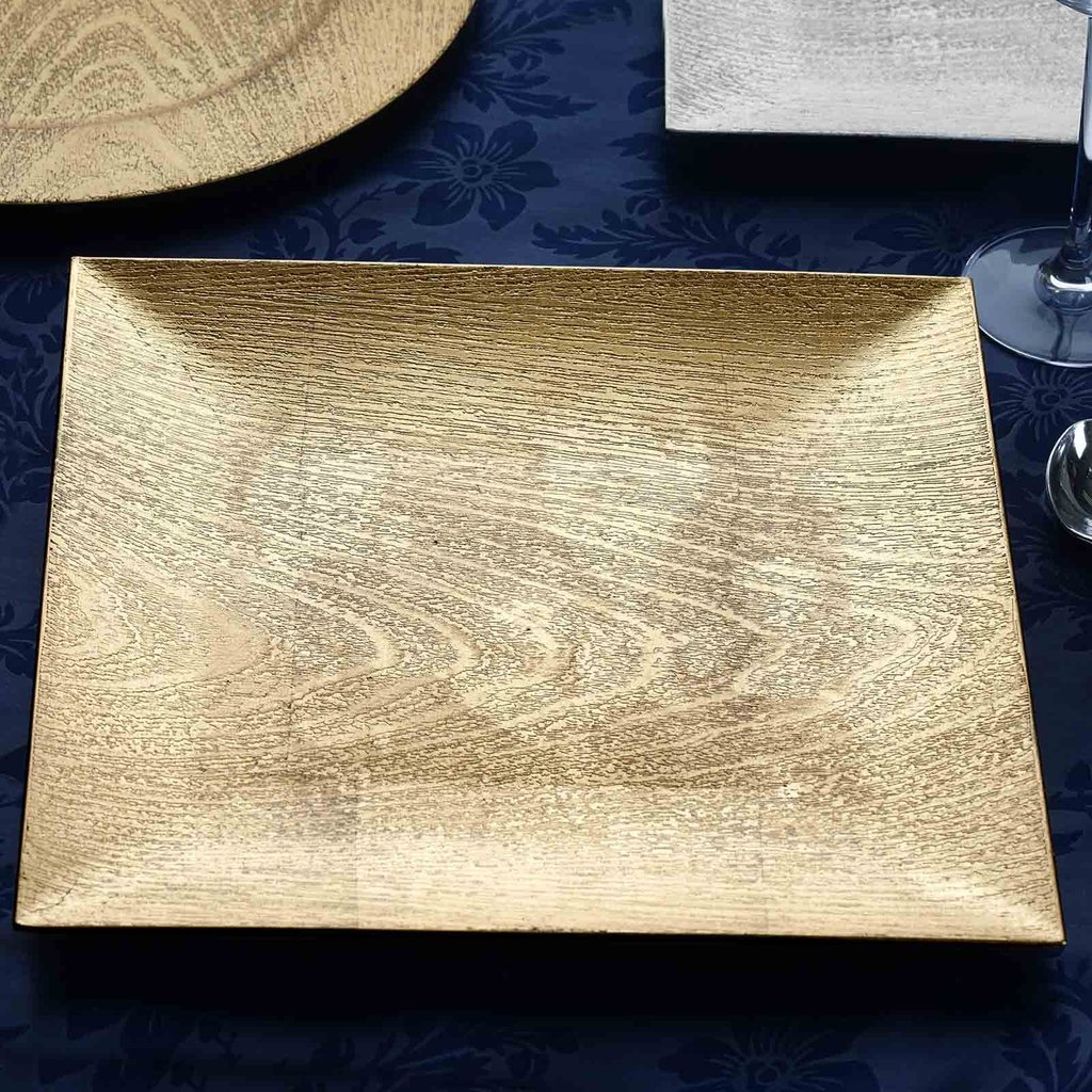 BalsaCircle 6 pcs 13-Inch Gold Wooden Textured Square Charger Plates - Dinner Wedding Supplies for all Holidays Decorations