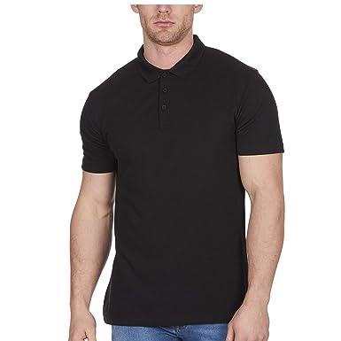 a09d278fd801 Mens Polo Shirt Classic Plain Big and Tall Plus Size T-Shirts Black M