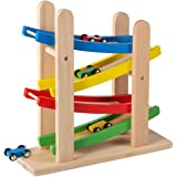 Play22 Wooden Car Ramps Race - 4 Level Toy Car Ramp Race Track Includes 4 Wooden Toy Cars - My First Baby Toys - Toddler…