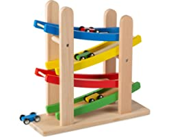 Play22 Wooden Car Ramps Race - 4 Level Toy Car Ramp Race Track Includes 4 Wooden Toy Cars - My First Baby Toys - Race Car Ram