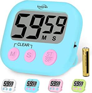 Kissarex Digital Kitchen Countdown Timer: Teachers Classroom Counter Large LCD Loud Magnetic Clip Simple Clock Mini Small Stopwatch Big Beeper Minute Hour Seconds Cooking Giant Alarm Count Up