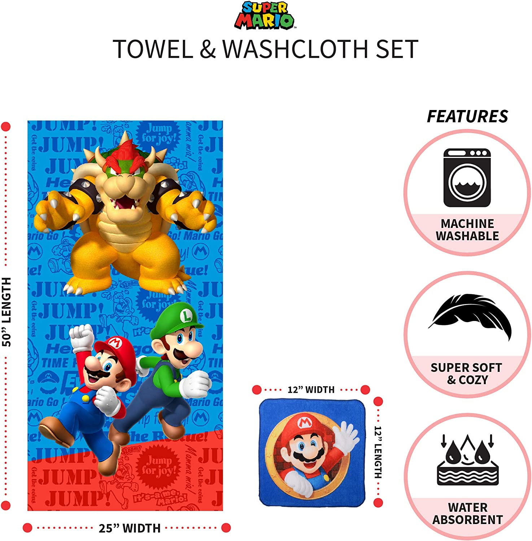 Franco Kids Bath and Beach Soft Cotton Terry Towel with Washcloth Set Baby Shark 25 x 50