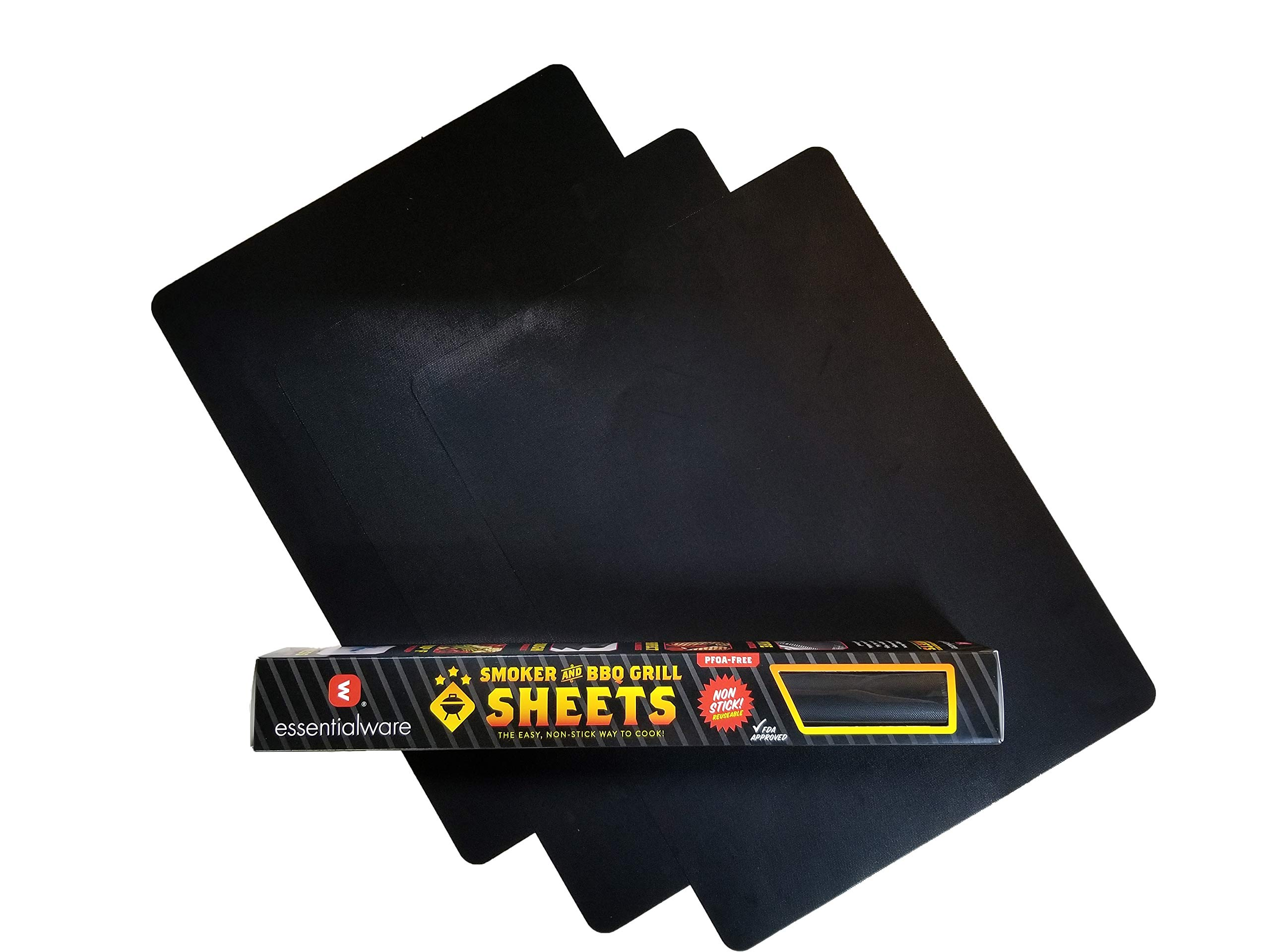 Essentialware 3 Pack PTFE (Teflon) Non-Stick BBQ Grill and Smoker Grill Sheets - 16'' x 12'' and 8 mil Thick
