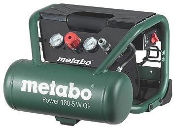 Metabo Power 180-5 W OF - Compresor 1,5 CV 5 litros sin aceite, especial construcción: Amazon.es: Bricolaje y herramientas