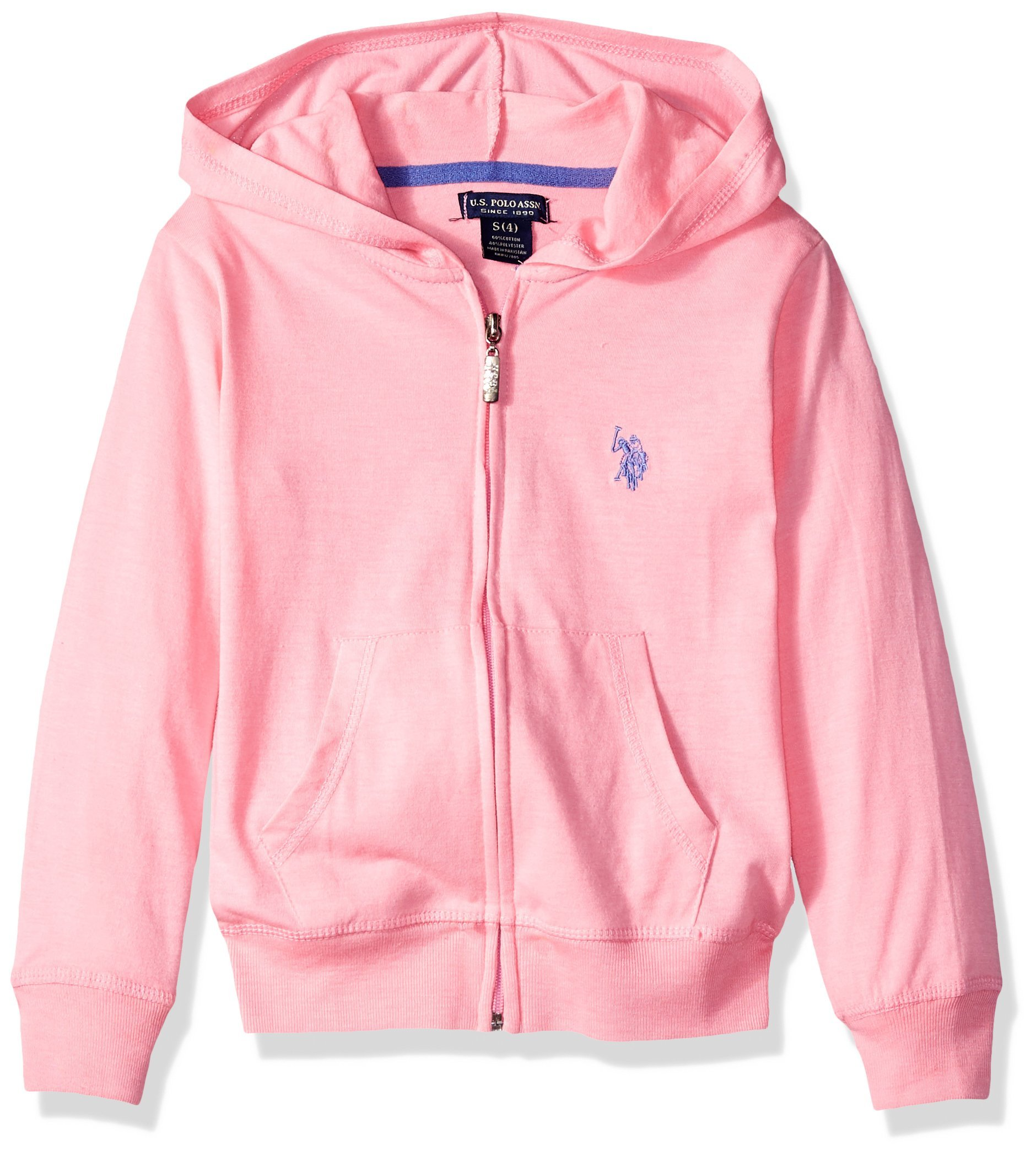 U.S. Polo Assn. Toddler Girls' Long Sleeve Jersey Hoodie, As Zip up Pink, 3T