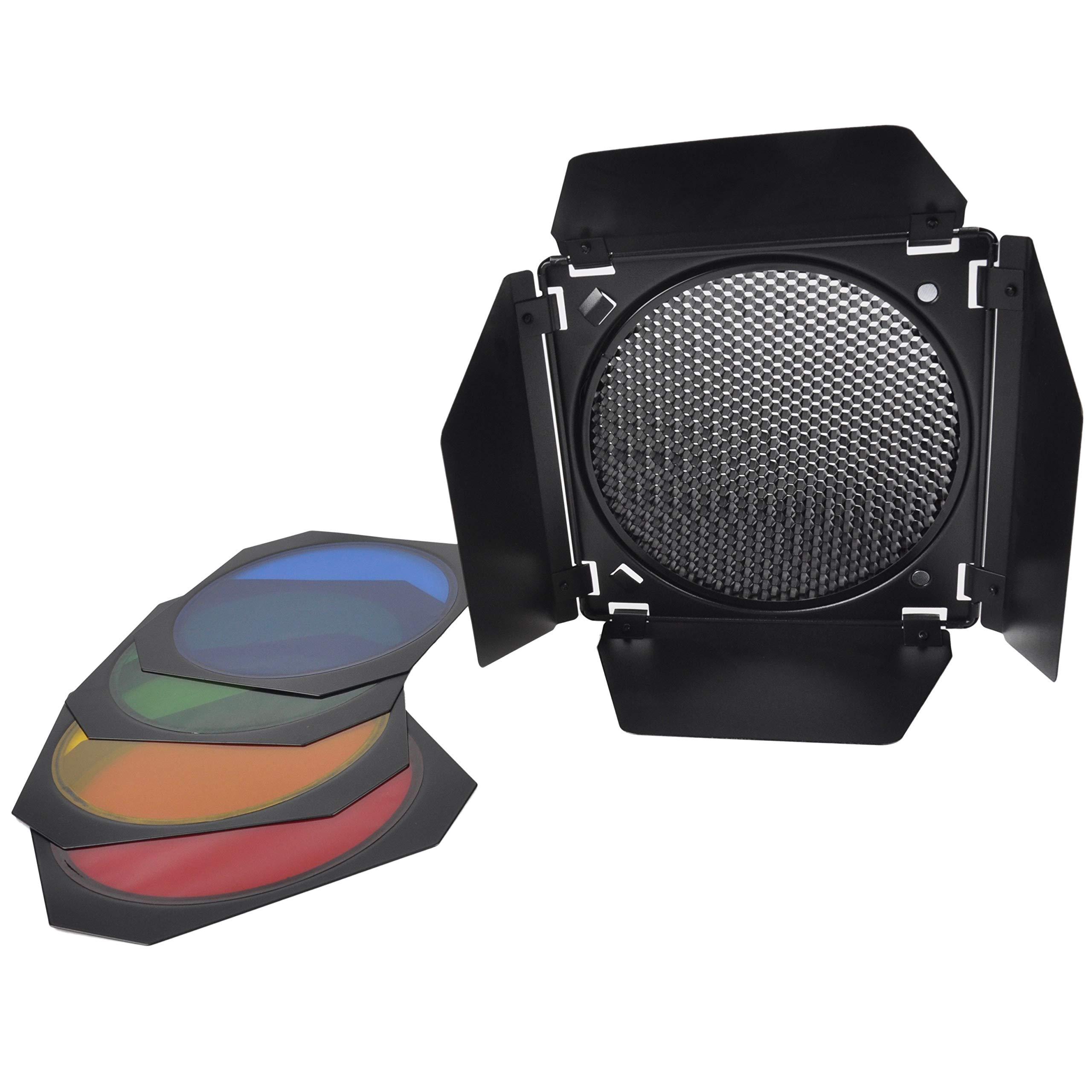 Photo Studio 7'' Barn Door Honeycomb Grid with 3 Color Gels Filters Barndoor Set