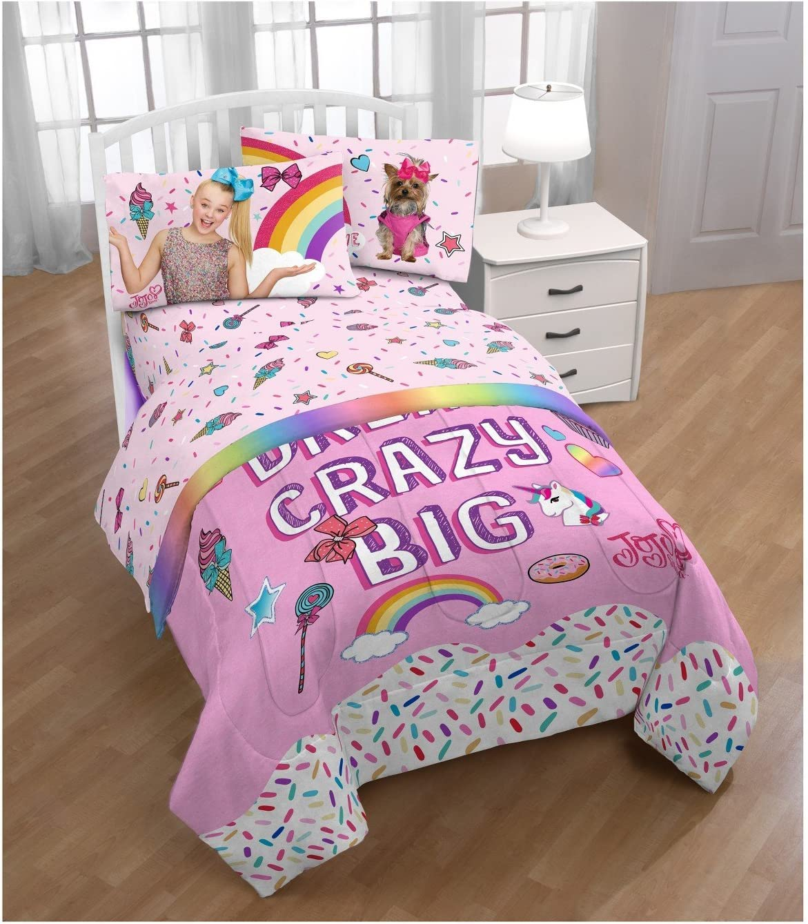 Jojo Siwa Rainbow Comforter Sheet Set And Bow Decor Pillow Set Twin Single Bed Girl Room Pink Purple Amazon Ca Home Kitchen