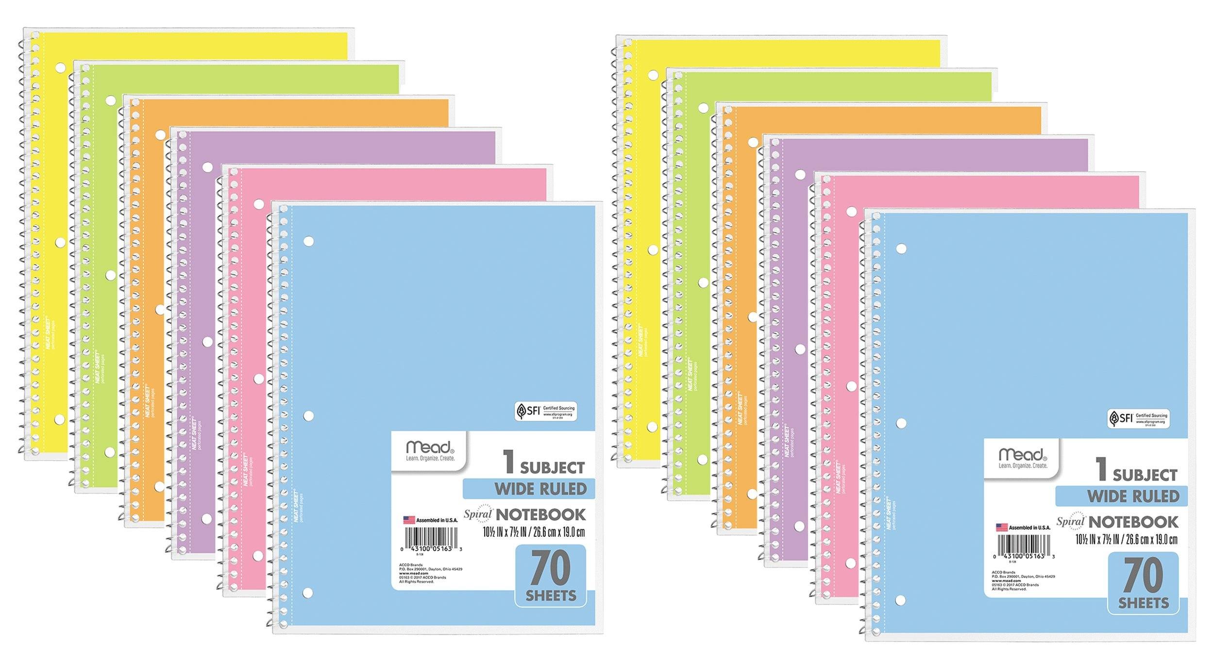 Mead Spiral Notebook, Wide Ruled, 1 Subject, Assorted Pastel Colors, 12 Pack