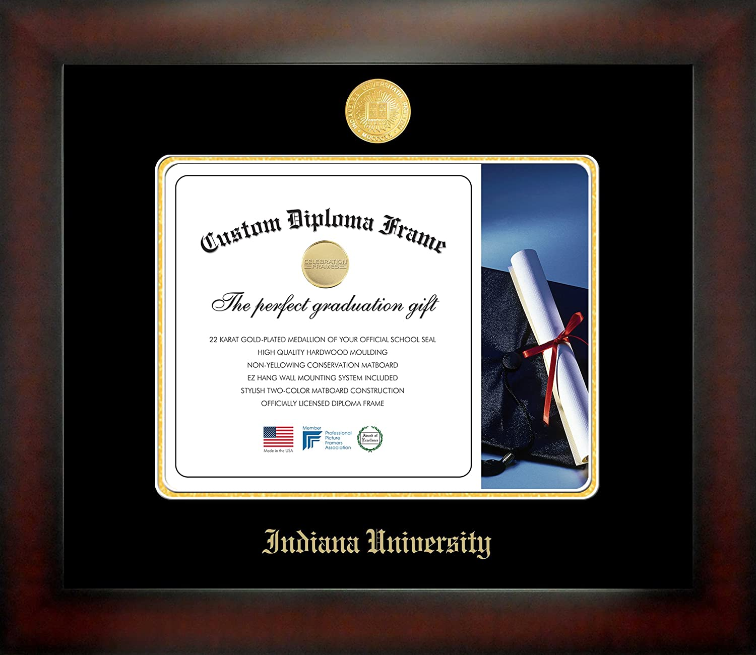 Campus Images NCAA Indiana Hoosiers Infinity Diploma Frame Medium Brown with Black Edging