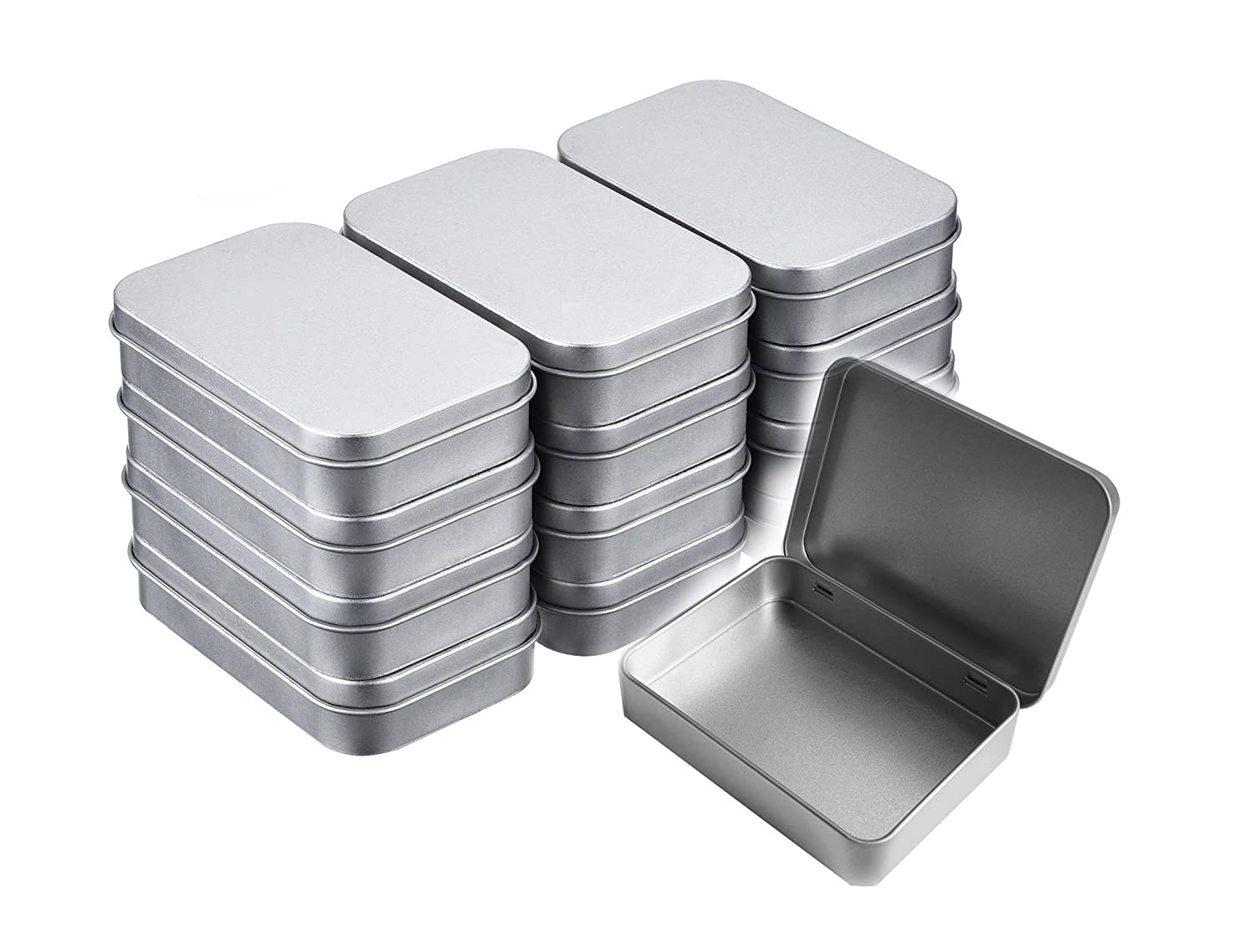 Walkingpround 12 Pack Empty Tin Box Storage Containers Metal Silver Rectangular for Candy Tins Gift Card Holder Box