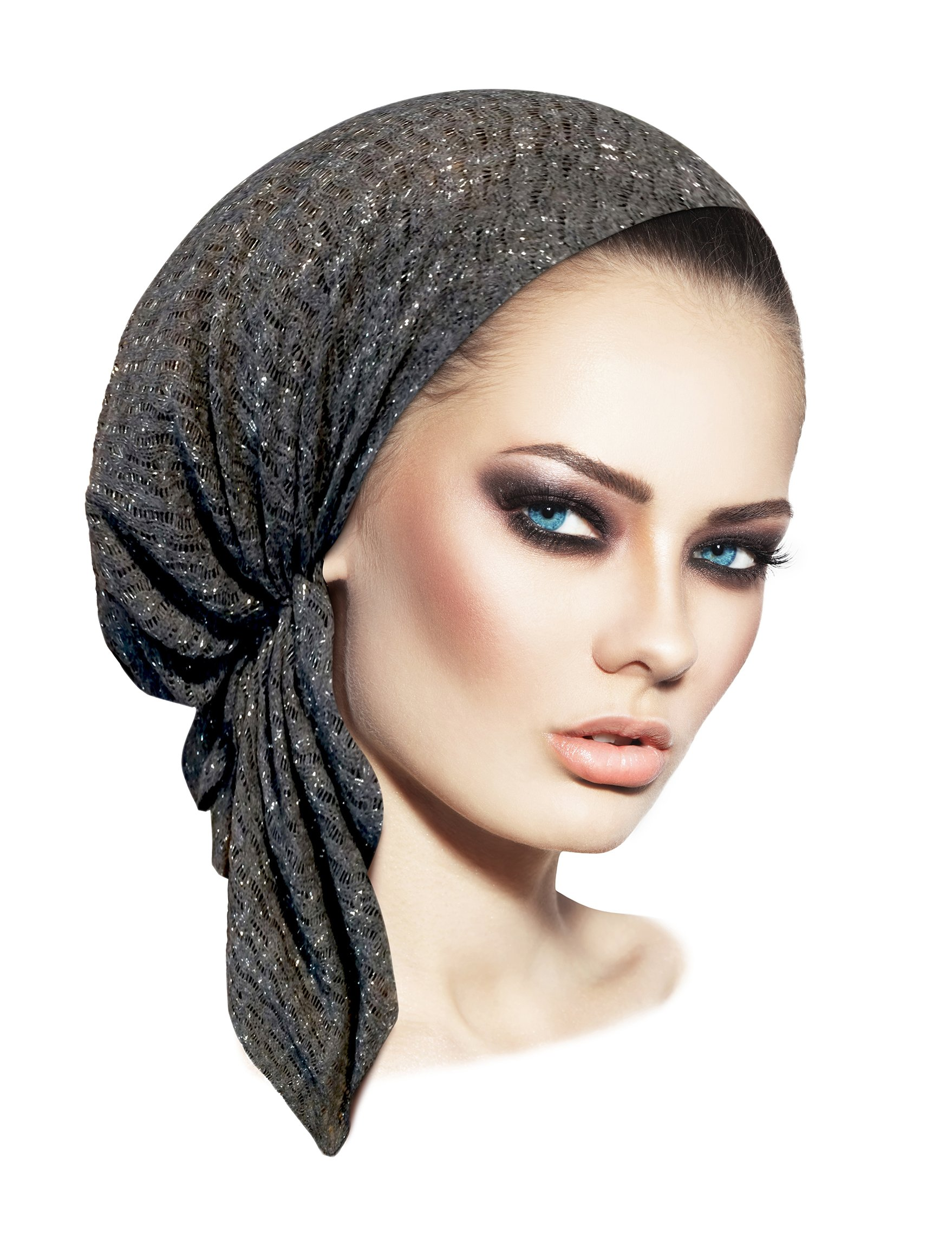 Boho Chic Gray Pre-Tied Head-Scarf Tichel Breathable Sparkly Knit Collection! (Charcoal Gray Silver Short - sk07)
