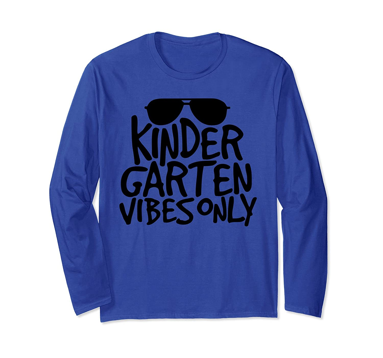 Kindergarten Vibes Only Back to School Long sleeve T Shirt-AZP