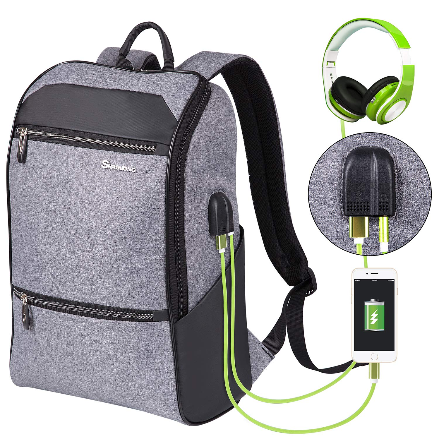 Laptop Backpack for Men Women Computer Bag with USB and Headphone Port