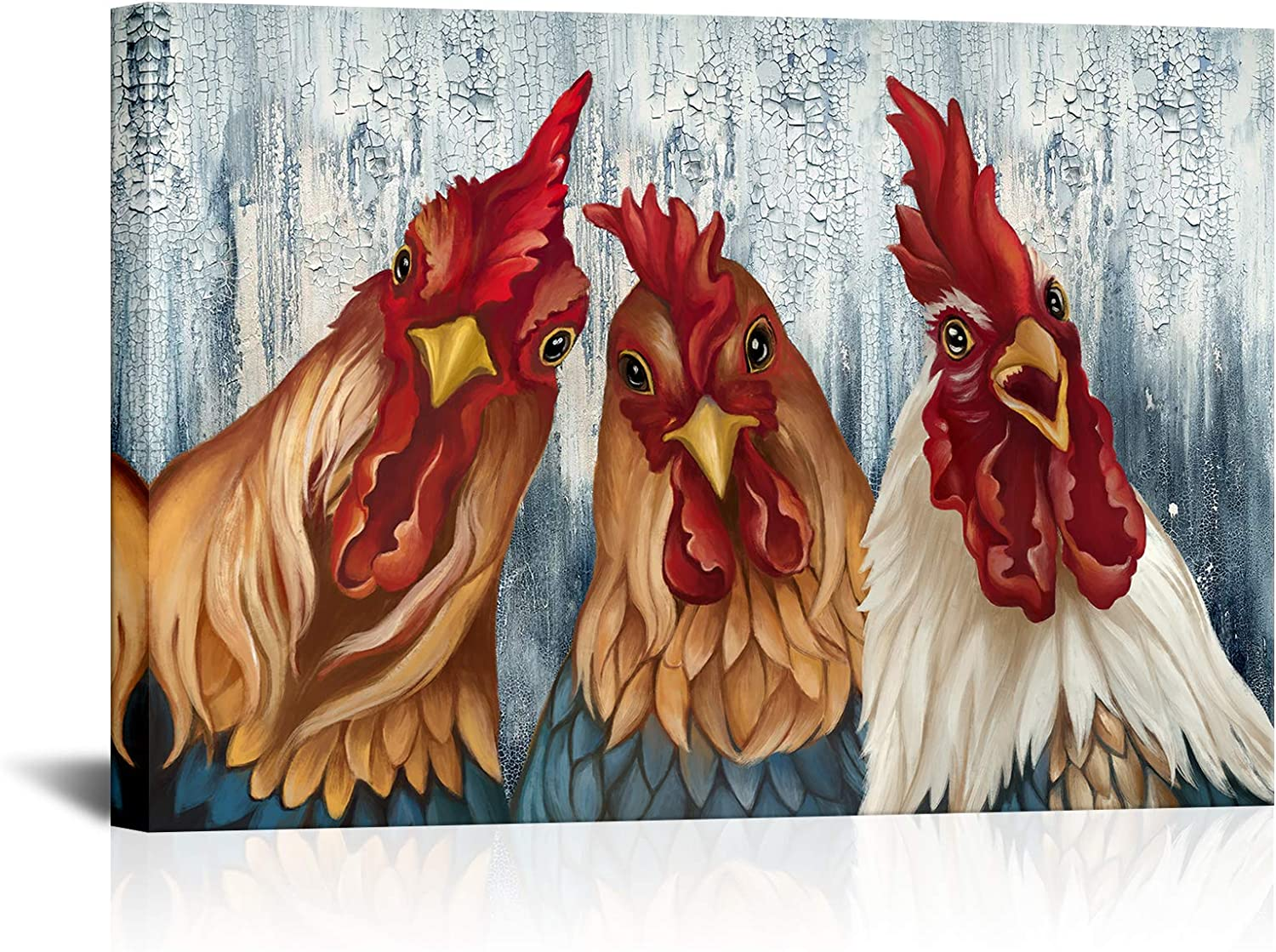 Chicken Kitchen Canvas Wall Decor Funny Rooster and Hen Picture Print Animal Painting Artwork Rustic Home Art Farmhouse Wall Art Living Room Bathroom Kids Room Decoration24 x36