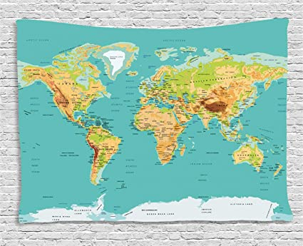 Amazon.com: Ambesonne Map Tapestry, Map of The World Geography ...