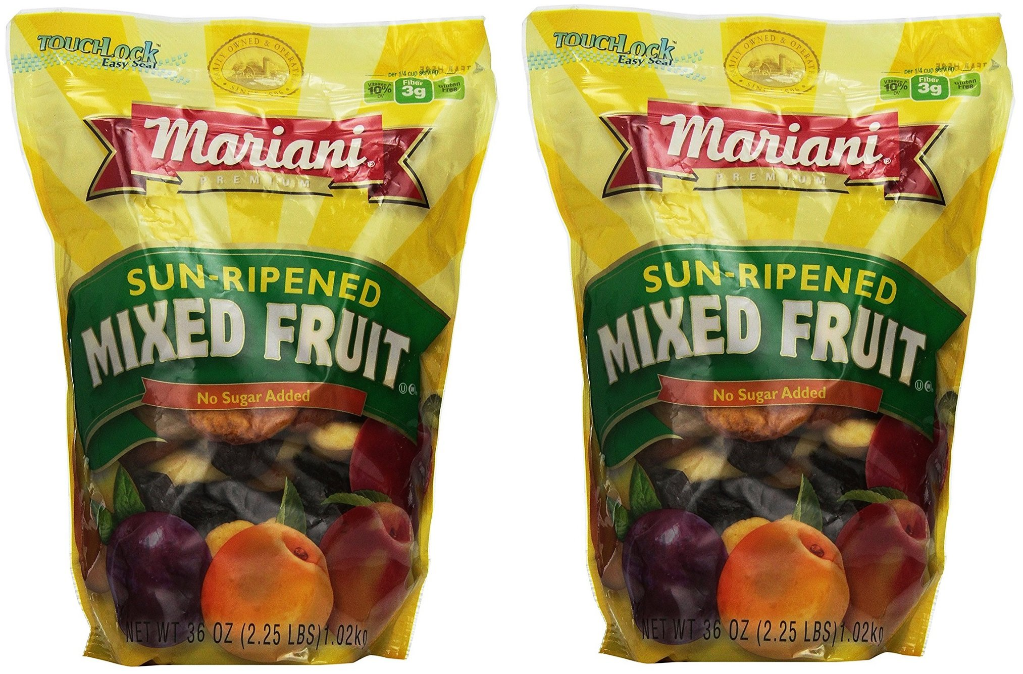 Mariani pbZkab Sun Ripened Mixed Fruit No Sugar Added Dried Fruit, 36 Ounce (2 Pack) by Mariani (Image #1)