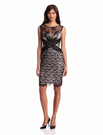 Jax Women's Allover Lace And Mesh Dress, Black/Putty, 4