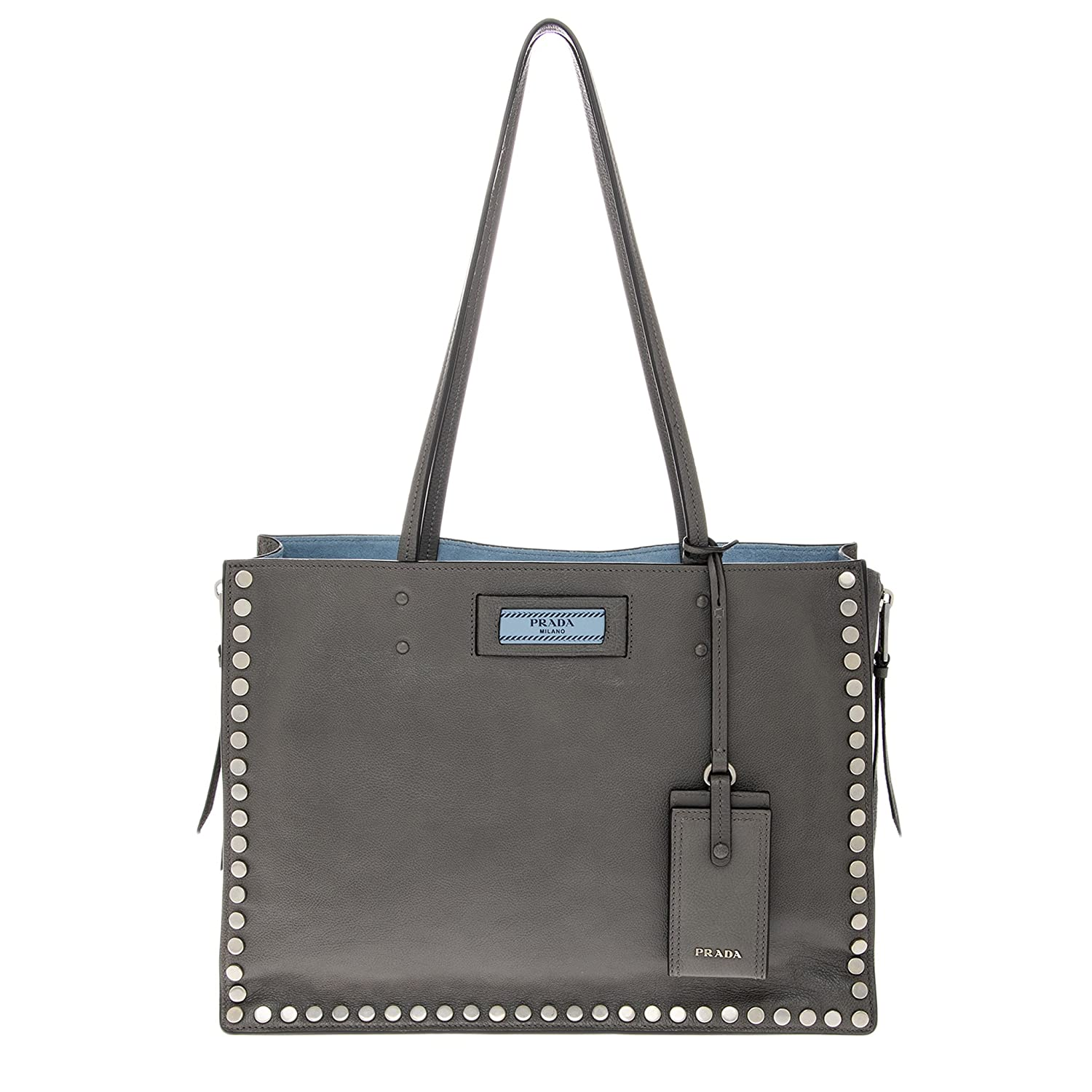 e5cc45081 Amazon.com: Prada Women's Etiquette Studded Tote Bag Grey: Clothing