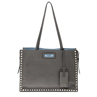 f7eb1ebad173a5 Amazon.com: Prada Women's Etiquette Studded Tote Bag Grey: Clothing