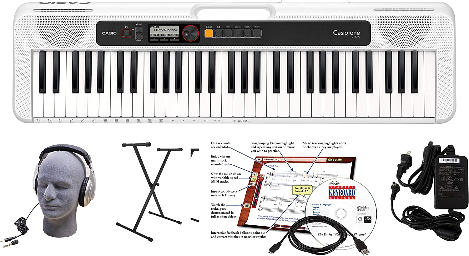Casio CT-S200WE 61-Key Premium Keyboard Package with ...