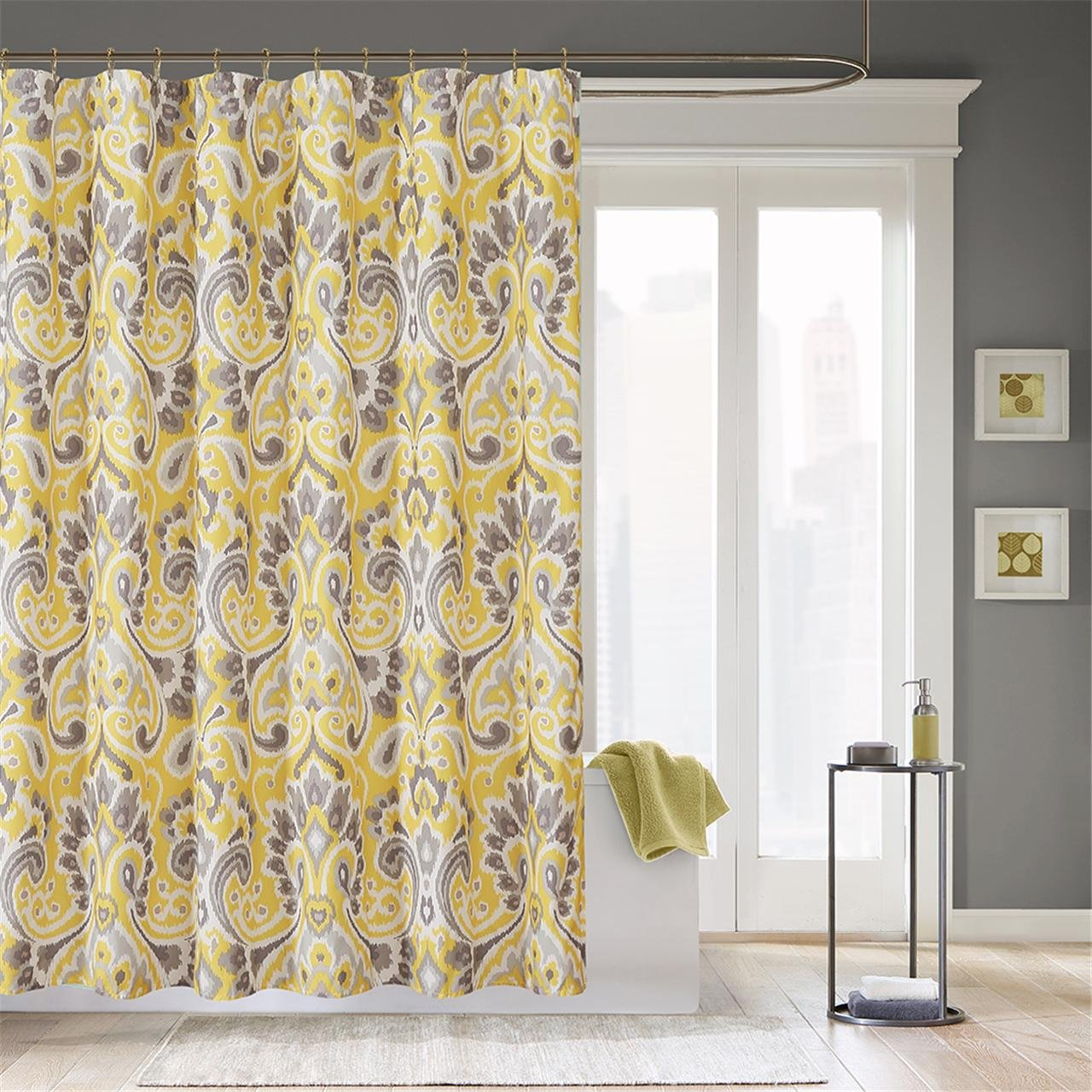 pink and yellow shower curtain. Amazon Com  Madison Park Capris Modern Shower Curtain Abstract Casual Desig Curtains For Bathroom 72 X Yellow Home Kitchen