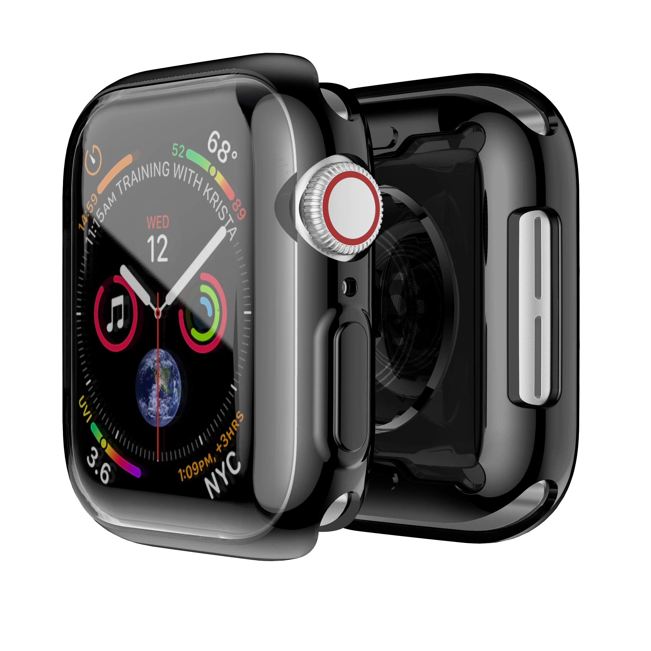 Smiling Case for Apple Watch Series 4 40mm with Built in TPU Clear Screen Protector - All Around Protective Case High Definition Clear Ultra-Thin Cover for Apple iwatch 40mm Series 4 (Black) by Smiling
