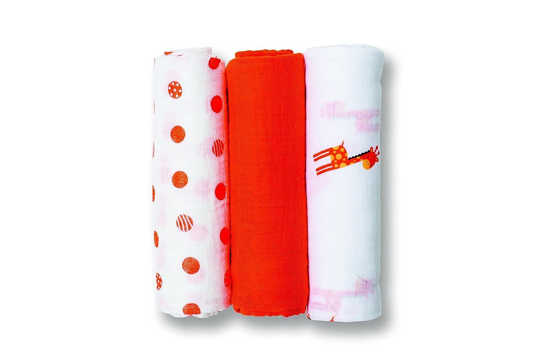 Lulujo Mini Muslin Cotton Receiving Cloths My Giraffe, Orange/White LJ207