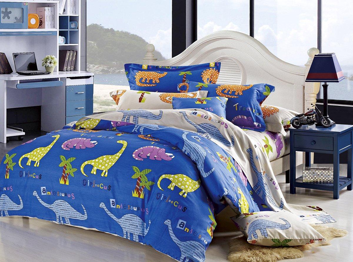 Cliab Dinosaur Bedding King Size 100% Cotton Duvet Cover Set 100 Cotton 7 Pieces (King) by Cliab