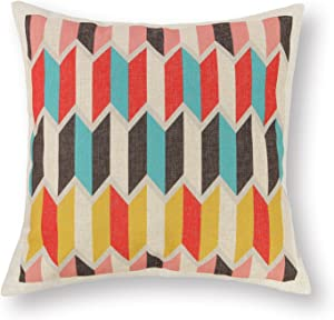 CaliTime Canvas Throw Pillow Cover Case for Couch Sofa Home Decoration Geometric Accent 18 X 18 Inches Modern Chevron Zigzag