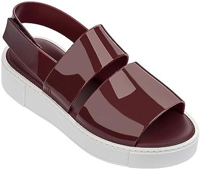 baeb6e8d652 Melissa Womens Soho Slingback Sandal Bordeaux White Size 5