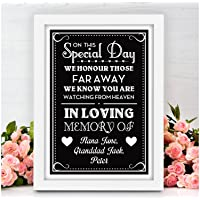 Personalised Wedding In Loving Memory Of Someone in Heaven Memorial Table Signs - Vintage Shabby Chic Style Wedding Sign - PERSONALISED Wedding Black Board Style Signs - A5, A4, A3 Prints and Frames
