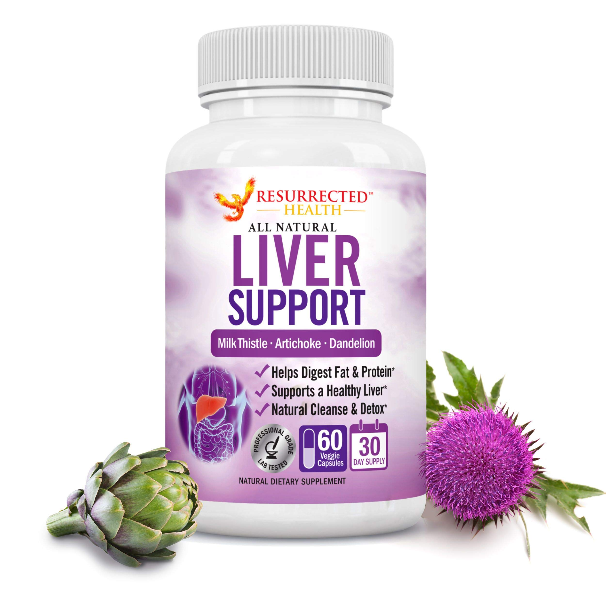 Liver Support Supplement - 22 Herbs for Liver Detox & Repair with Milk Thistle & Turmeric - Plant Based Liver Cleanse