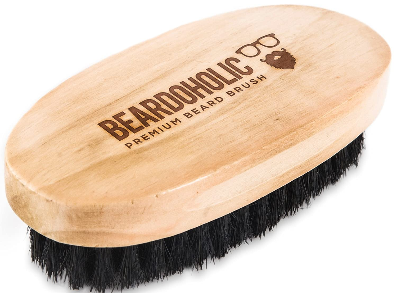 Beardoholic Boar Hair Brush - Professional Barber Brush for Grooming Detangling and Beard Health - Conditions and Evenly Distributes Natural Oils - Portable Great Gift for Bearded Men - Bamboo Wood