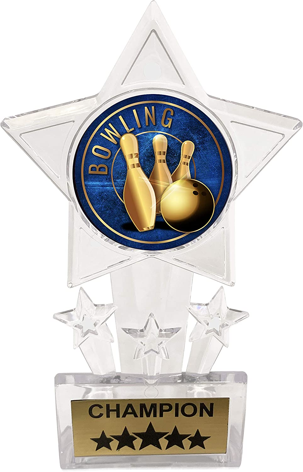 Pack of 12 Express Medals 6.5 Inch Clear Acrylic Star Bowling Champion Trophy Awards