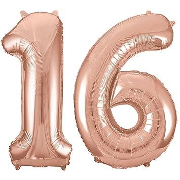 RhinestoneSash 34quot Giant Rose Gold 16th Birthday Helium Quality Foil Mylar Balloon