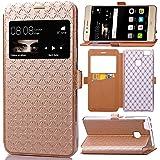 bdeals Cover Huawei P9 Lite(mini) - luxury Portafoglio Protettiva Custodia in pelle e View Finestra & Card Slots per Huawei P9 Lite(mini) - Oro