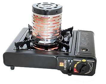 bdz-155 Portable Camping estufa de gas quemador bolsa caso Dual butano GLP + calentador: Amazon.es: Jardín