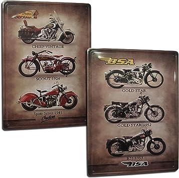 Vintage Motorrad Blechschild Indian Und Bsa Vintage Schild Set Mit 2 Blechschildern Blechschilder Retro Stil Für Wohnzimmer Bar Werkstatt Garage Maße 20 X 30 Cm Bürobedarf Schreibwaren