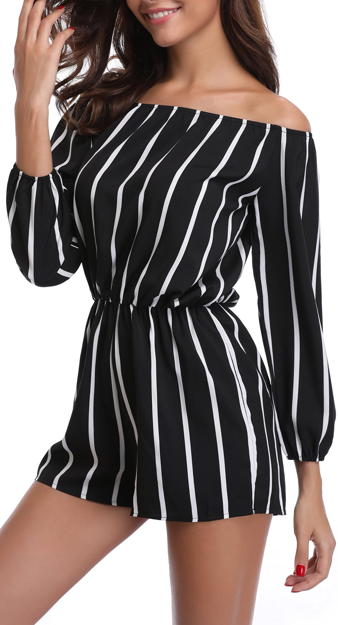 MISS MOLY Women's Stripe Off The Shoulder Strapless Jumpsuit Mid Rise Romper M Size