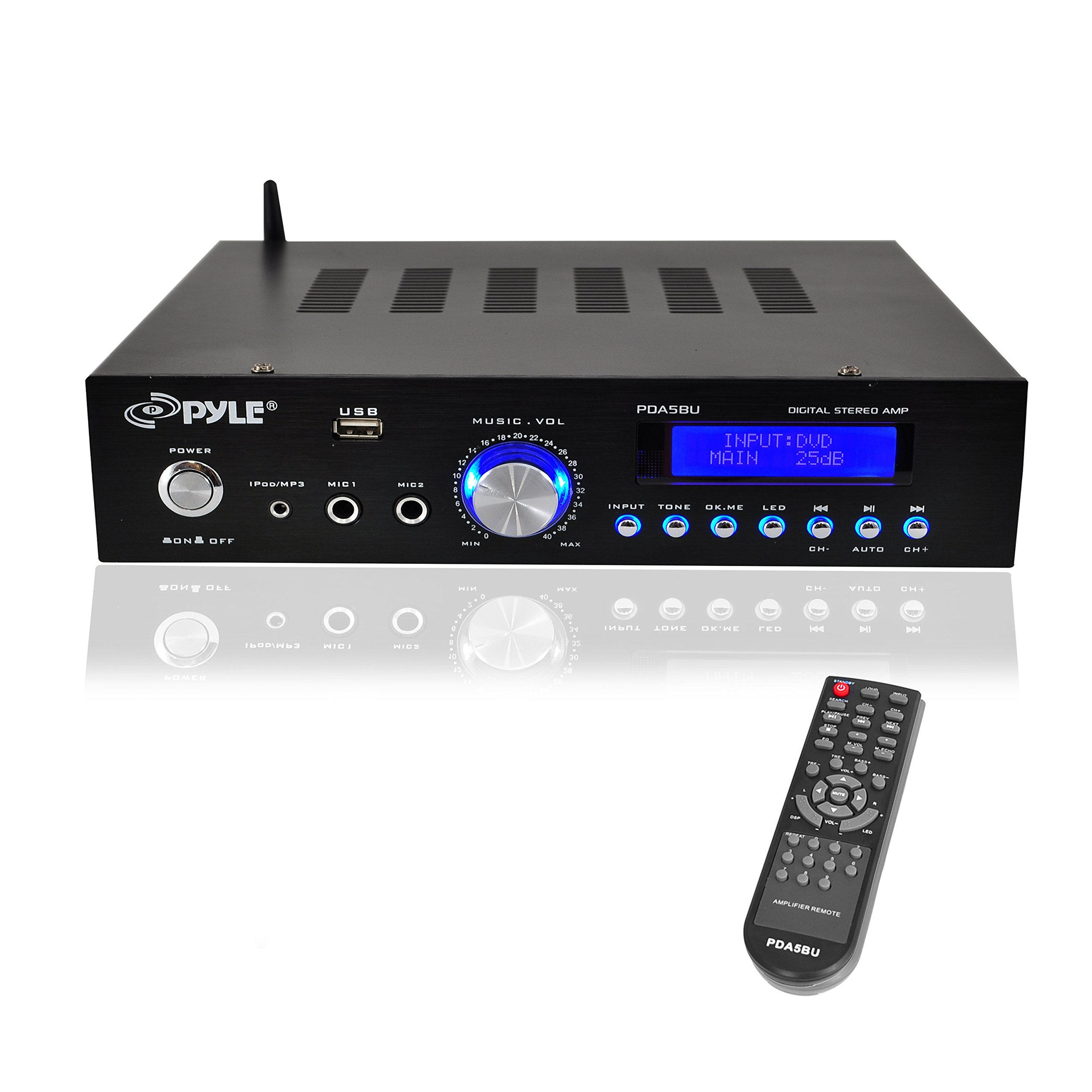 Premium Bluetooth Stereo Amplifier, 200 Watt Compact Amp Receiver with Remote Control, FM Antenna and USB/AUX Port by Pyle (Image #1)