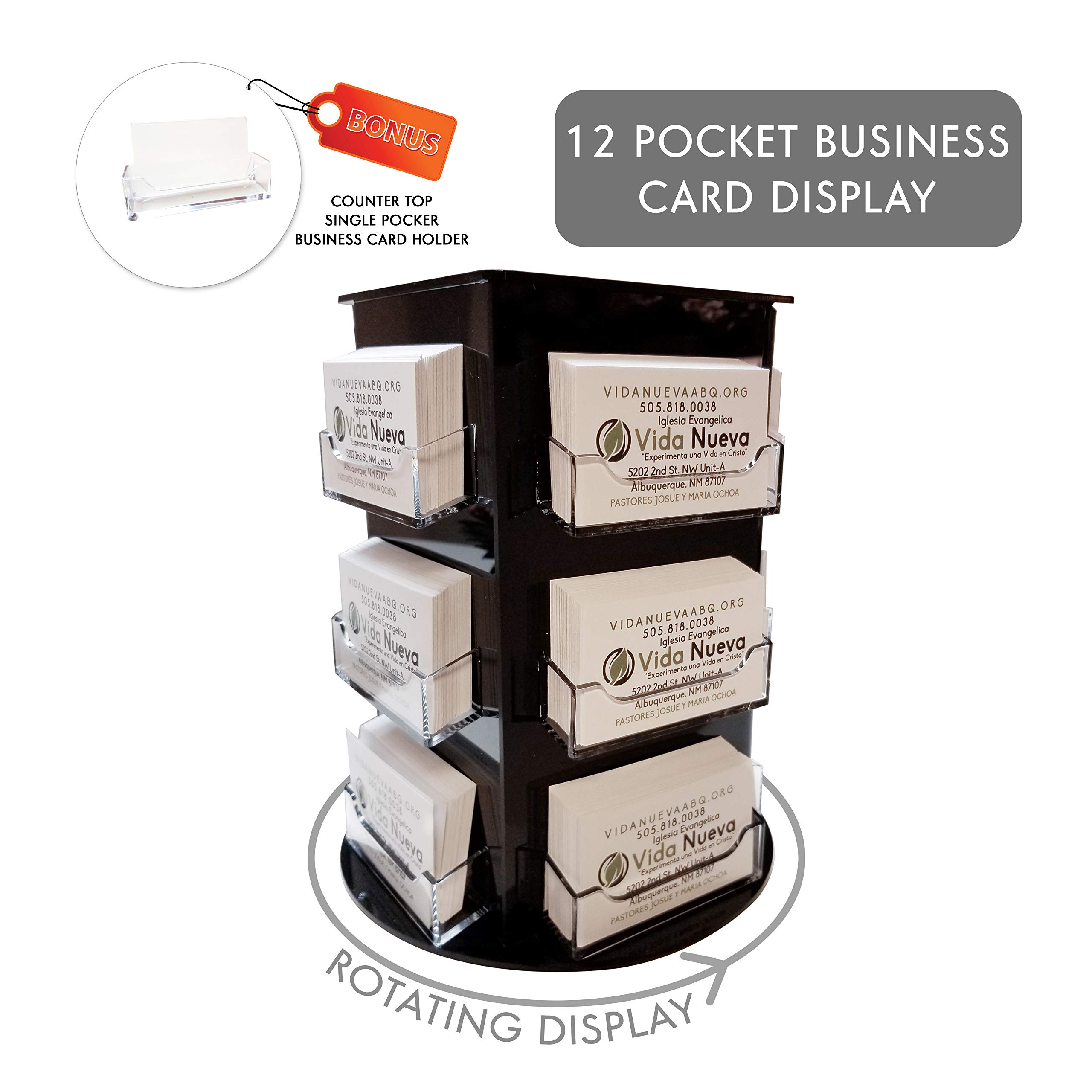 Clear Choice Deluxe Rotating Business Card Display | Great for Medical Offices, Law Firms, Banks, Real Estate Offices, Retail Stores, Schools and Much More | Counter-top Black (12 Pocket)